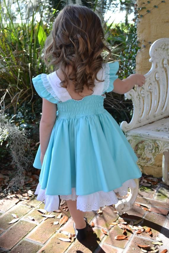 Alice In Wonderland Girls Flutter Sleeve Dress With Built In