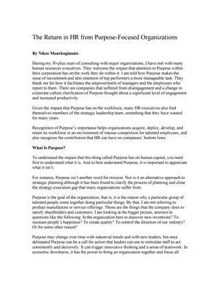 """#ΝίκοςΜουρκογιάννης: Άρθρο """"The return in HR from purpose focused organizations"""""""