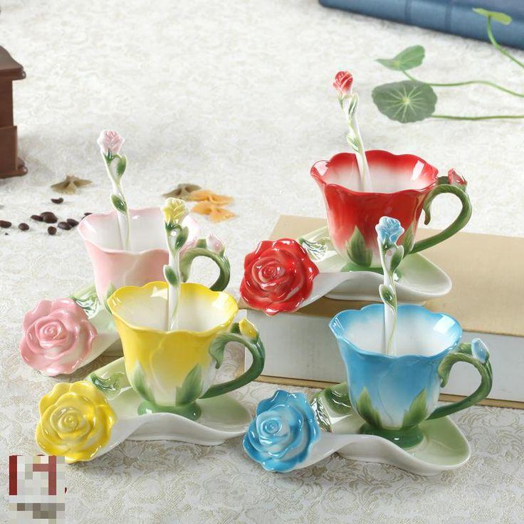 3D Emaille keramische koffiekopje schotel set Europese stijl bone china bruiloft verjaardag Valentijnsdag gift Pauw Cup(China (Mainland))