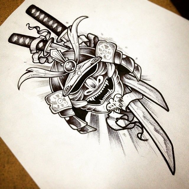 the samurai head must look evil and be on the upper arm somewhere.