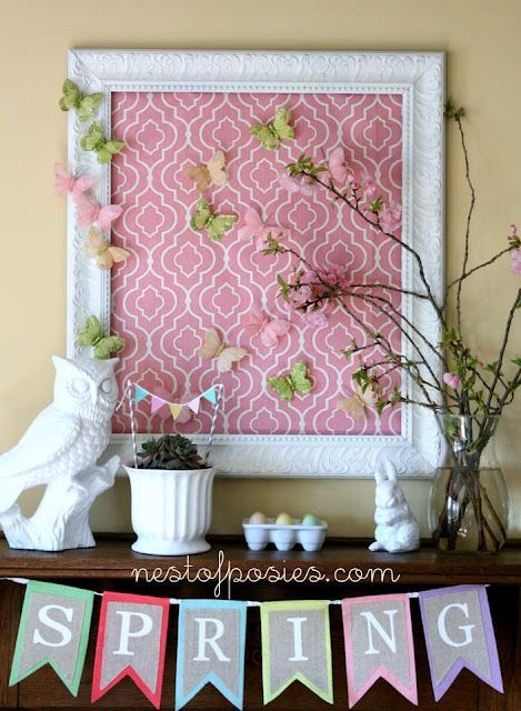 Butterflies - would be so cool just to find a really pretty piece of wallpaper to frame in an old thrift store frame ~ paint the frame, add the wallpaper and the butterflies ~ voila! Love this idea.