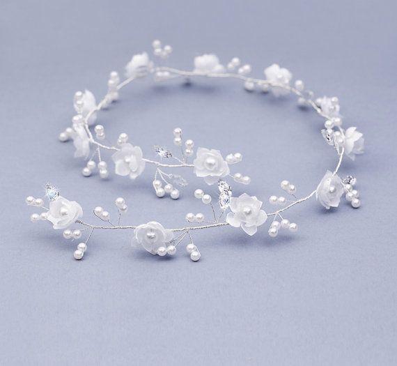 Bridal Headpiece Headdress Pearl white flower by FloralHeadpiece