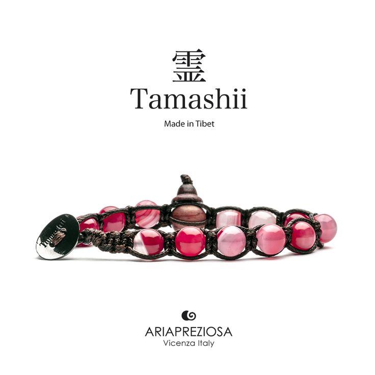 Bracciale originale tibetano Tamashii realizzato con pietre naturali AGATA STRIATA CILIEGIA.