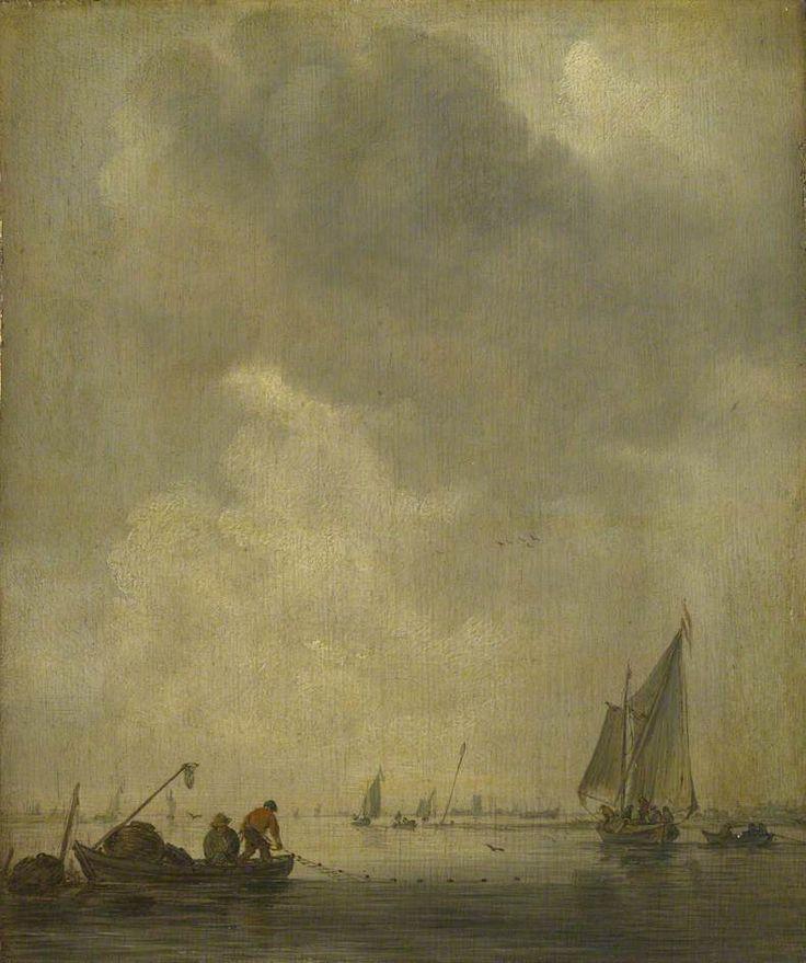 A River Scene, with Fishermen laying a Net Jan van Goyen, 1638
