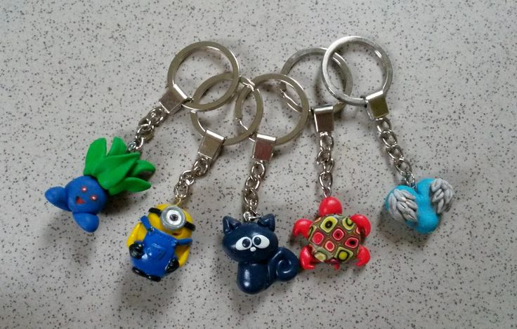keyrings... oddish, minion, cat, turtoise, heart