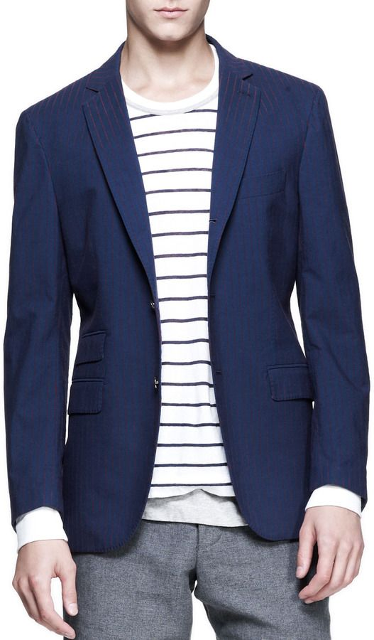 White and Navy Horizontal Striped Crew-neck Sweater by Michael Bastian. Buy for $1,695 from Bergdorf Goodman