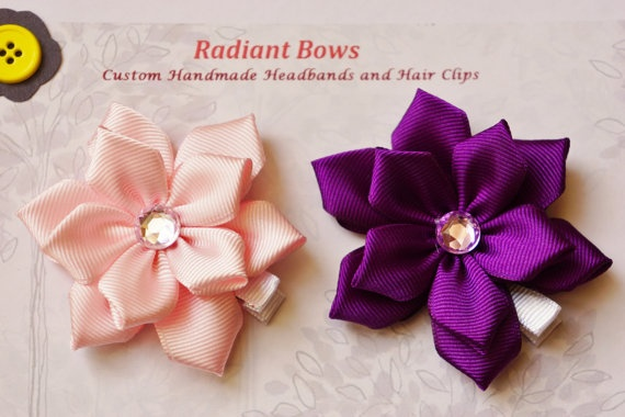2 pc Classic Ribbon Flower Hair Clip for Baby Girls by RadiantBows, $5.99
