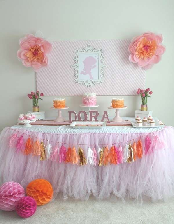 Pink and orange Dora the Explorer birthday party! See more party ideas at CatchMyParty.com!