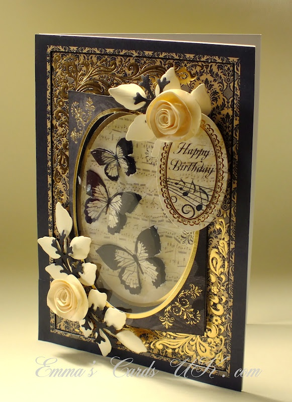 stunning birthday card with butterflies nd roses by http://www.emmascardsuk.com/