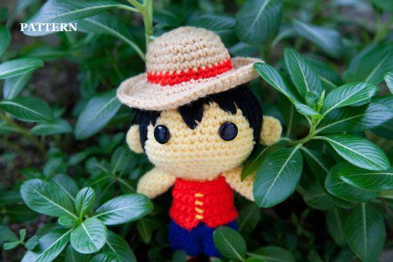 PATTERN Monkey D. Luffy One Piece Amigurumi crochet от BaburuStar, $6.00
