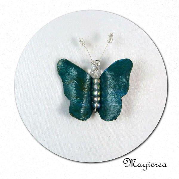 PENDENTIF PAPILLON VINYLE VERT EMERAUDE - Boutique www.magicreation.fr