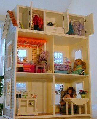 Great for American Girl or 18 inch doll size I like the storage part  for clothing and accessories