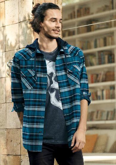 Camiseta Masculina Regular Em Malha De Algodão Com Estampa E Lavanderia  24f8dc232c3e4