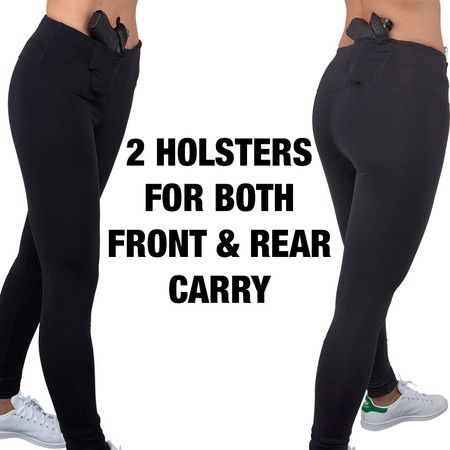 If you love your comfy leggings but have a hard time concealing your firearm when you're wearing them - here's your solution: Leggings with built in holster pockets!