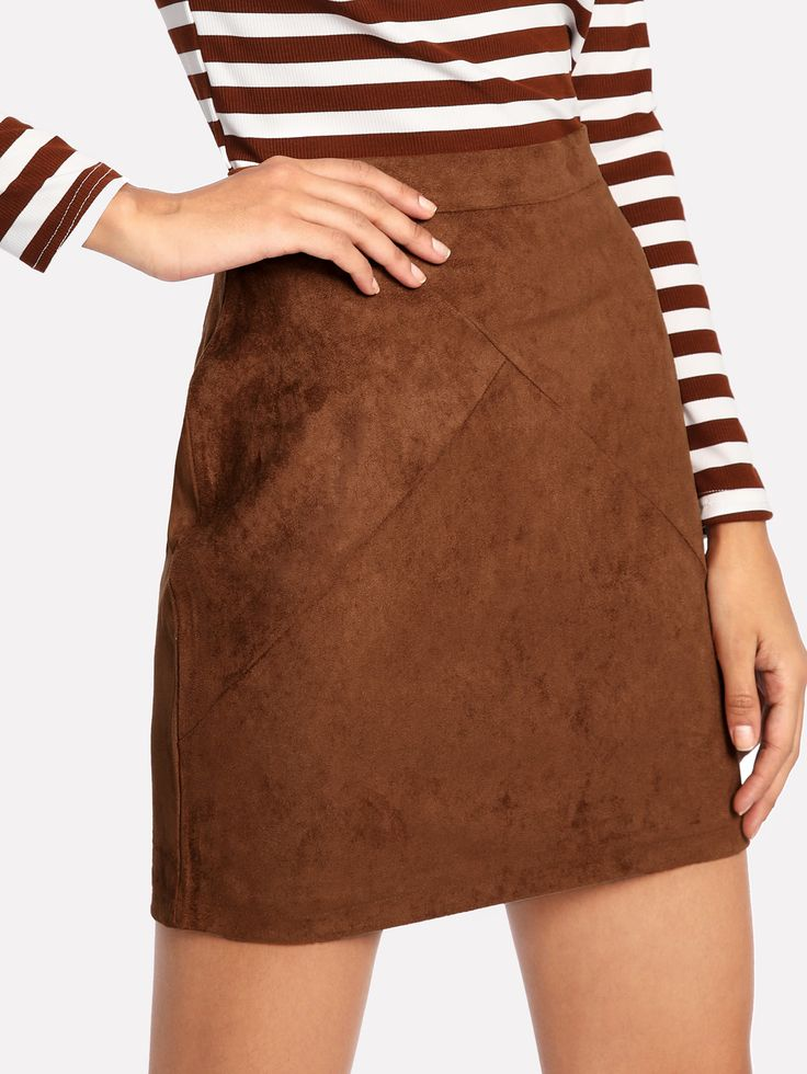 Shop Zip Back Suede Skirt online. SheIn offers Zip Back Suede Skirt & more to fit your fashionable needs.