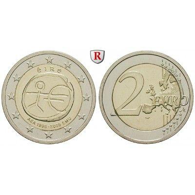 Irland, Republik, 2 Euro 2009, bfr.: Republik seit 1946. 2 Euro 2009. 10 Jahre Währungsunion. bankfrisch 5,00€ #coins