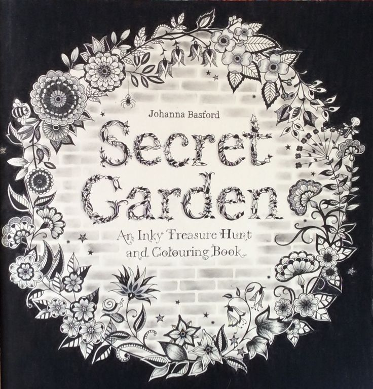 Secret Garden title page. Mostly inked, with a hint of a brick wall. Coloured by Prue from Colouring+ with Prue