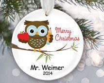 Personalized Teacher Christmas Ornament School Gift Teacher Christmas Gift Male or Female Teacher Gift Owl Ornament Custom gift OR190