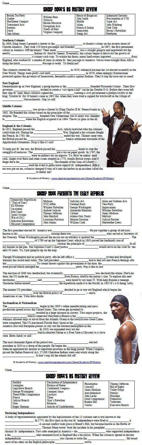 """This is a bundle of all 4 Snoop Dogg American History cloze review guides. Each is a fun, 1 page overview of an era in US history with a vocabulary term word bank at the top, and then a cloze reading in which students fill in the blanks. However, each of the readings has been turned into """"Snoop speak"""" with -izzles and slang from Snoop Dogg songs to engage your students and keep their attention!"""