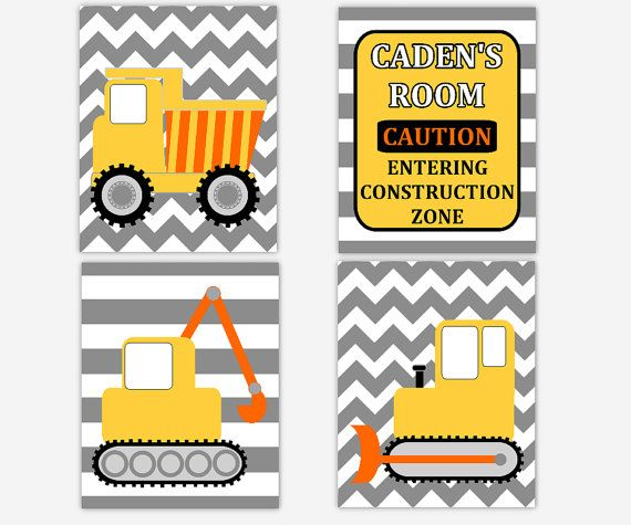 Boy Nursery Wall Art Construction Trucks Dump Bulldozer Tractor Gray Grey Yellow Orange Chevron Stripes Toddler Boy Bedroom Personalized Art