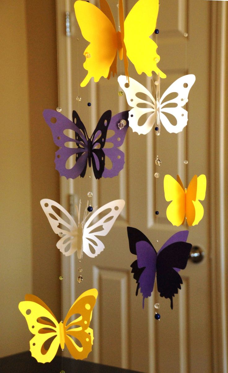3D butterfly mobile baby nursery butterfly mobile yellow purple and white…
