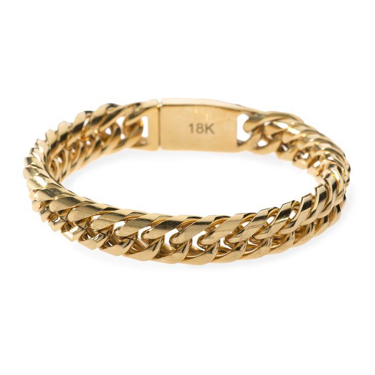 18k Miami Cuban Chain Bracelet Mens Gold Bracelets Gold