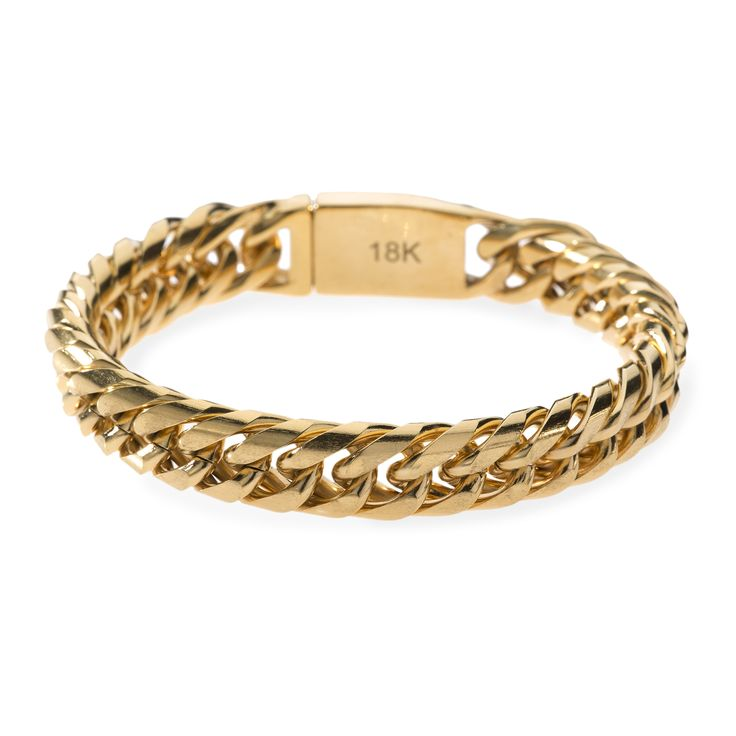 """Miami Cuban Chain Necklace: - Length: 8.5"""" - Width: 12mm - High Polish 18k Gold PVD Plated Finish Check out this one of a kind Miami Cuban chain bracelet. This bracelet matches the 12mm Miami Cuban ch"""