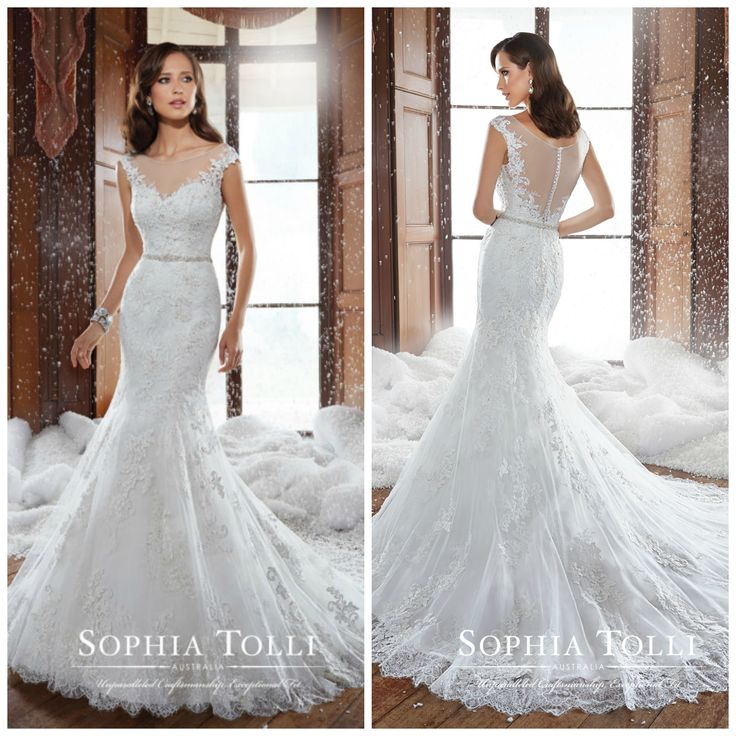 Lace Wedding Gown With The Beautiful Trimmed Chapel Length Train Spencer By Sophia Tolli Is Now Available To Try At Georgina Pimm Bridal Boutique