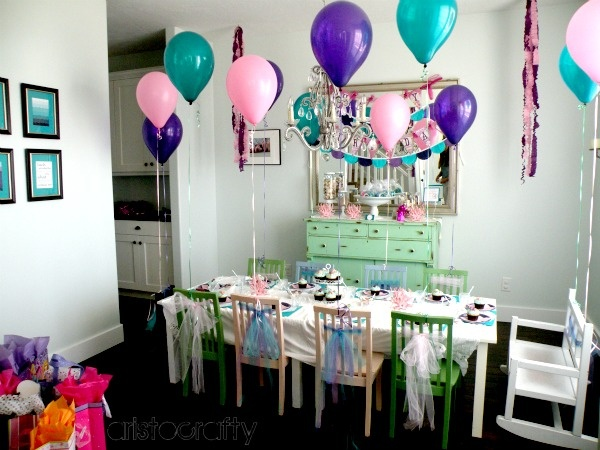 Aristocrafty: Mermaid Birthday Party {Tulle tied to chairs ...