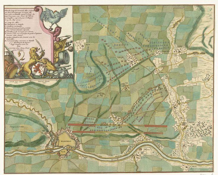 Jan van Call (II) | Plan van het kamp van de Geallieerden voor Maastricht, 1703, Jan van Call (II), Anna Beeck, unknown, 1703 | Kaart met het plan van het legerkamp van de Geallieerden onder de Graaf van Ouwerkerk voor Maastricht, 14 mei 1703. Linksboven een cartouche voor de legenda A-H met de Hollandse Leeuw die de Franse Haan met wapens bedreigt.
