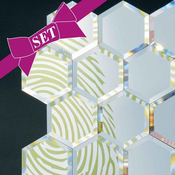 Spiegel Set Mirrorized, Sechseck, silberfarben