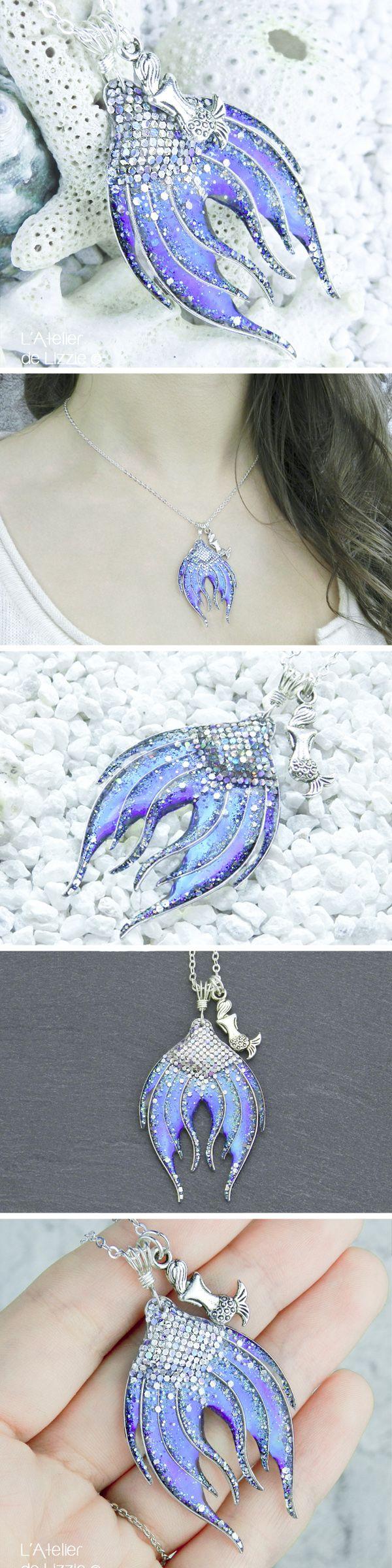 Mermaid Tail pendant Pendentif nageoire de sirène #1 Silver / peacock blue