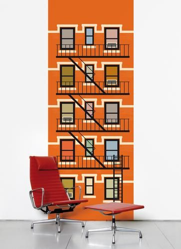 Orange wall sticker inspired by a New York redbrick