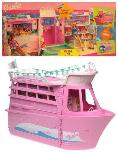"Barbie CRUISE SHIP Playset w Child Size CAMERA Activates Tropical SOUNDS! (2002) by Mattel. $354.99. Camera activates the Tropical Cruise Sounds. REQUIRES 5 x ""AA"" Batteries NOT included. Sizes, colors & details may vary.. Includes & Features: Cruise Ship, Real Tropical Sounds, ""Photo Development"" Center, a child size Pretend Camera that activates the Tropical Cruise Sounds, Data Disks & Pictures, Deck Lounge Chair, Microphone, Table & Chairs, Small Camera, Cellphone, Han..."