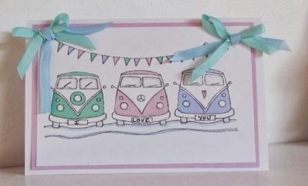 handmade card by Emma using the three campervans digital stamp by Handmade Harbour - love the gentle pastels on this one.