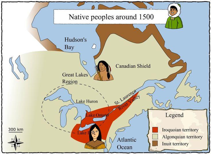 [Distribution du territoire natal vers 1500] © Service national du RÉCIT de l'univers social, www.recitus.qc.ca