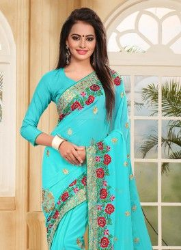 Delectable Georgette Cyan Zari Embroidered Casual Saree #sky blue #color #lehengacholi #indian #trendy #red #bridal#bollewood #party wear #traditional#online #mangosurat#style #boutiques #shopping #fashion #modal #social #branding #sales #marketing #business #discount #deal #success #ethnic #creation #embroidery #classic #cloth #clothing #bridal wear#jardoshi #work #chiffon #acteress #navel #desi #new #woman fashion