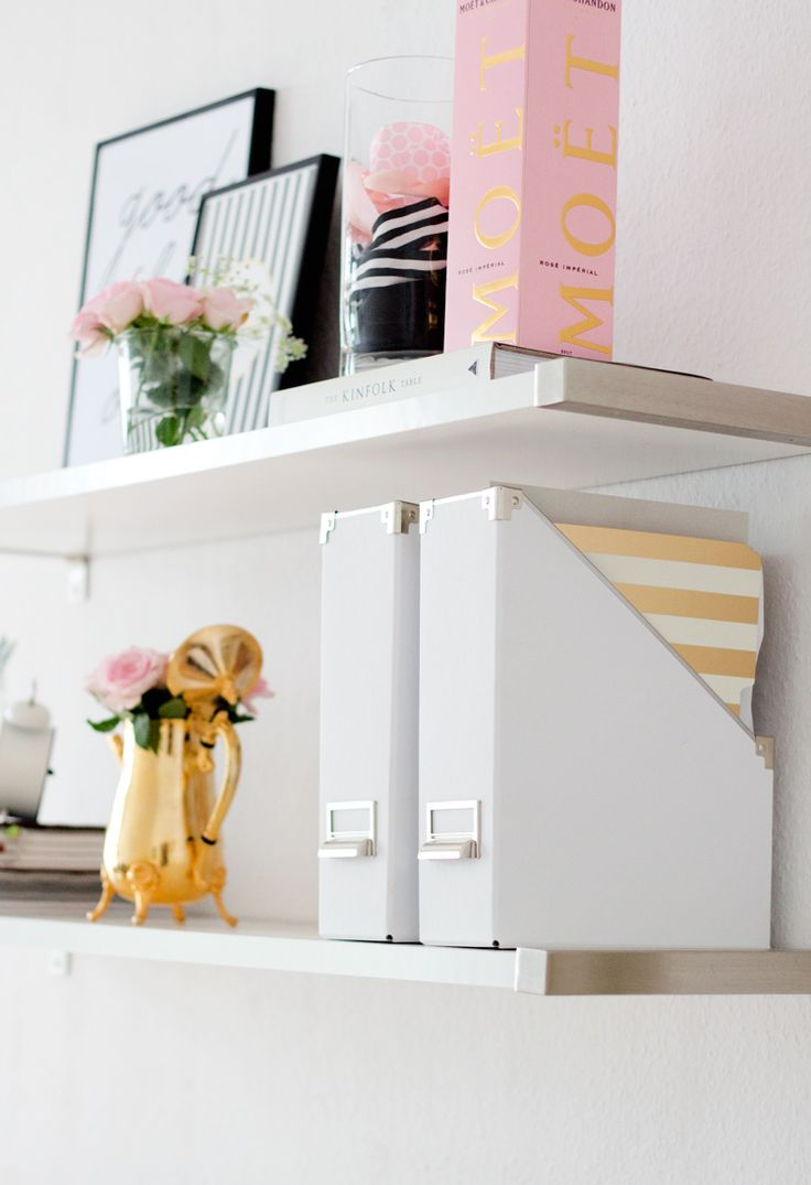White, pink and gold shelves.