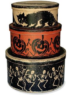 Round Halloween Boxes (for sale, but there's a pin somewhere about re-doing metal tins...now where is that?)