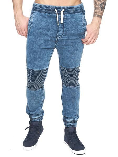 F&S Men Slim Fit Biker Jogger Jeans - Washed Blue - FASH STOP