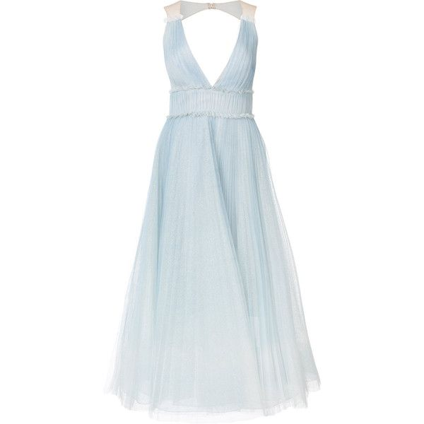 Marchesa Notte pleated ombré gown ($1,300) ❤ liked on Polyvore featuring dresses, gowns, blue, blue ombre dresses, fit flare dresses, blue cocktail dress, fit and flare dress and blue evening gown