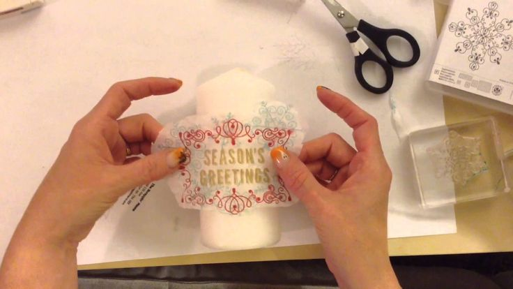How to transfer stamped images into a candle.
