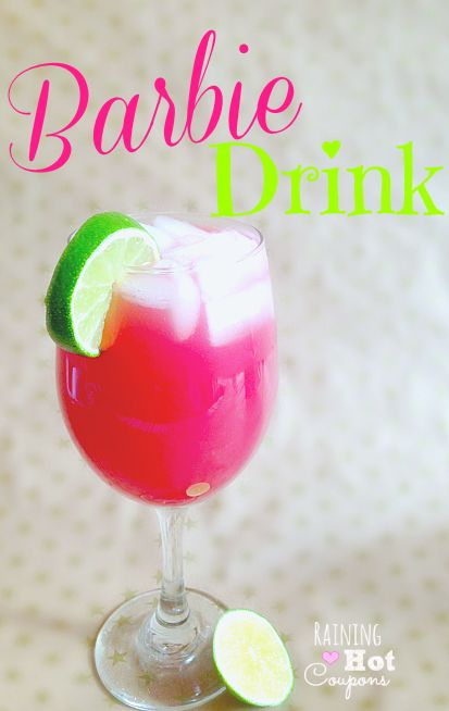 Hot Pink Barbie Drink  ◾1 oz Malibu Coconut Rum ◾1 oz vodka ◾1 oz Cranberry juice ◾1 oz Orange juice ◾1 oz Pineapple Juice ◾Lime.