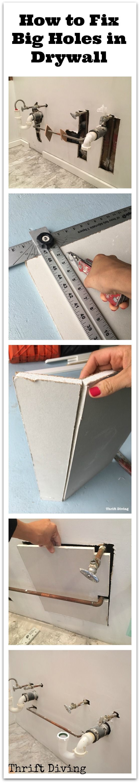 How to Fix Big Holes in Drywall - Drywall repair that will allow you to skip hiring a handyman or handywoman! - Thrift Diving