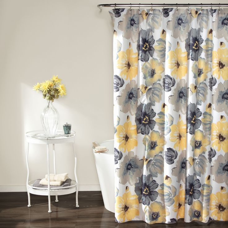 Add cheerful color and happiness to your bathroom decor with the Lush Decor Shower Curtain. Featuring eye-popping yellow and grey flowers, this shower curtain is simple yet fun.