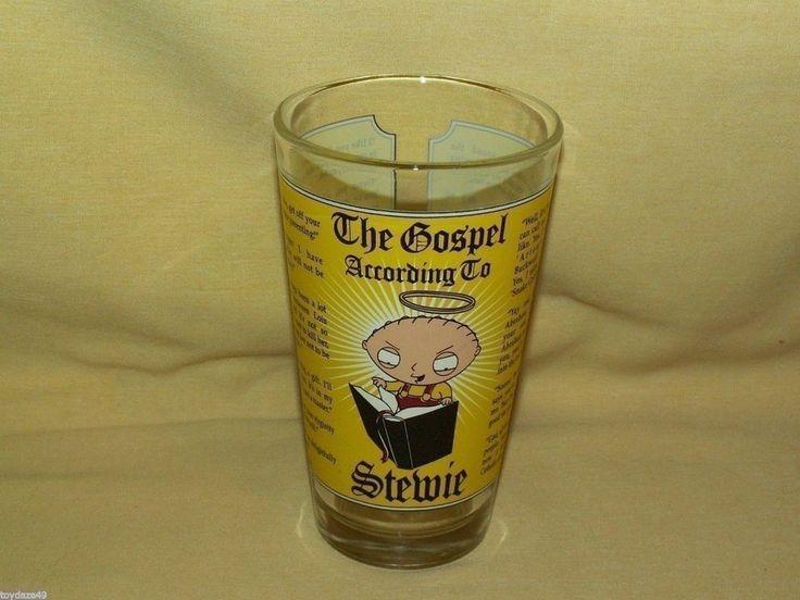 FAMILY GUY TV SHOW CARTOON GOSPEL ACCORDING TO STEWIE GLASS BARWARE TUMBLER 2005