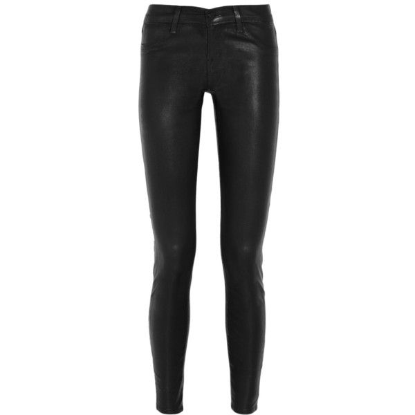 J Brand 815 coated mid-rise skinny jeans ($81) ❤ liked on Polyvore featuring jeans, pants, bottoms, calça, j brand, black, super skinny jeans, christian louboutin, skinny jeans and black denim skinny jeans