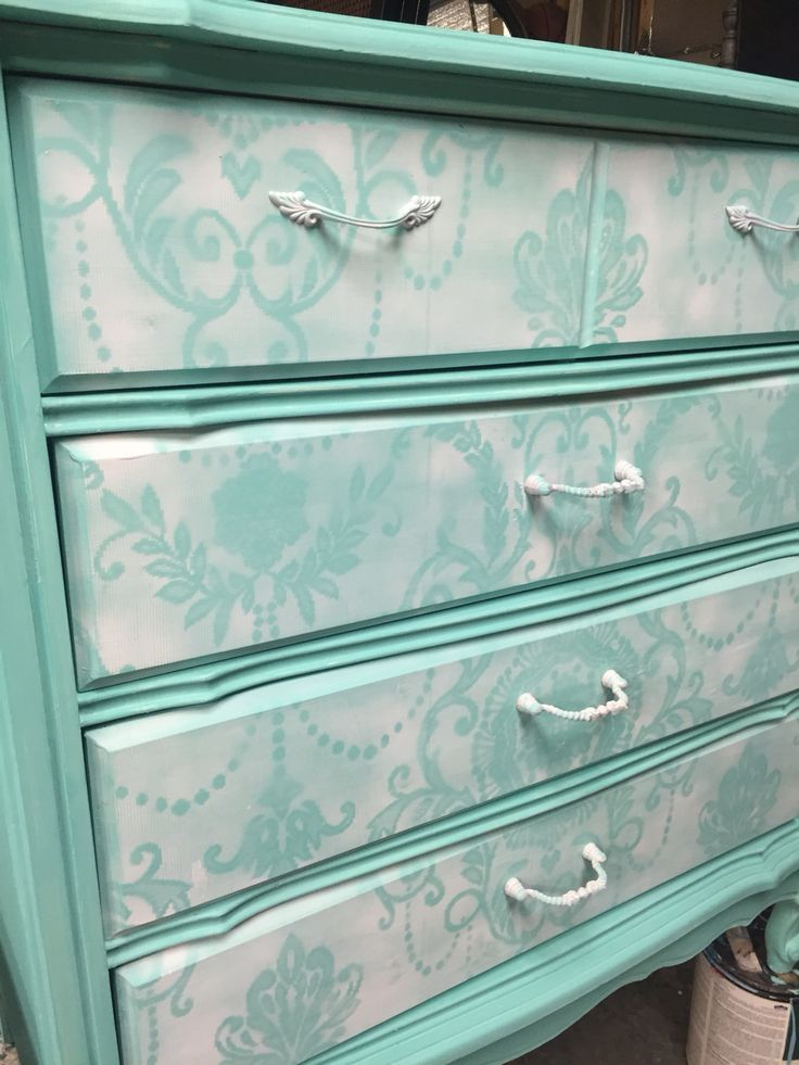 Chalk Painted Dresser With Lace Detail On Drawers