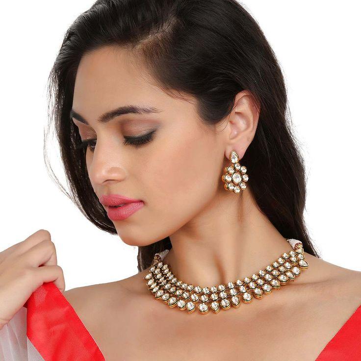 Kundan Necklace TAK53 #Kushals #Jewellery #Fashion #Indian #Jewellery #Necklace #Earrings #Designer #Fashion #choker #chain #Kundan