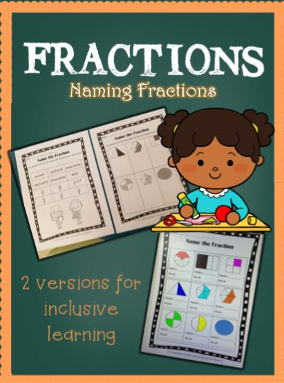 2 versions of naming fractions. Inclusive education, cut and paste.